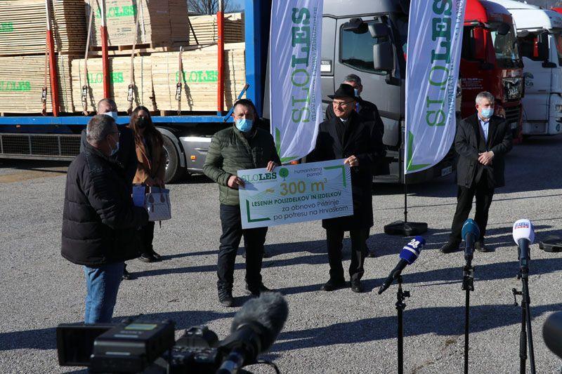 humanitarna pomoč Petrinja SLOLES Slovensko lesno združenje Danilo Knap predsednik